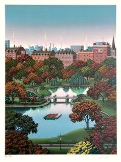 BOSTON PUBLIC GARDEN Signed Lithograph Boston Park Landscape, Swan Boat