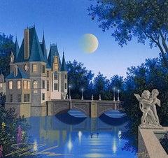 CALVILLE BLANC Signed Serigraph, Châteauesque Architectural Landscape, Cherubs