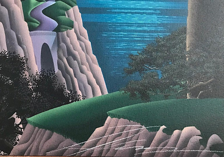 DRUID POINT Signed Lithograph, Fantasy Landscape, Modern Cliffside House - Contemporary Print by Jim Buckels