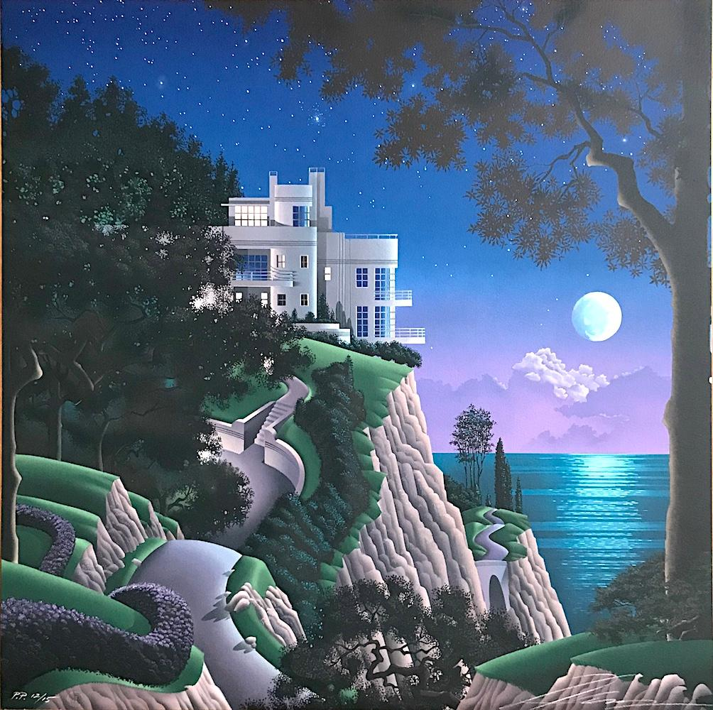 DRUID POINT Signed Lithograph, Fantasy Landscape, Modern Cliffside House