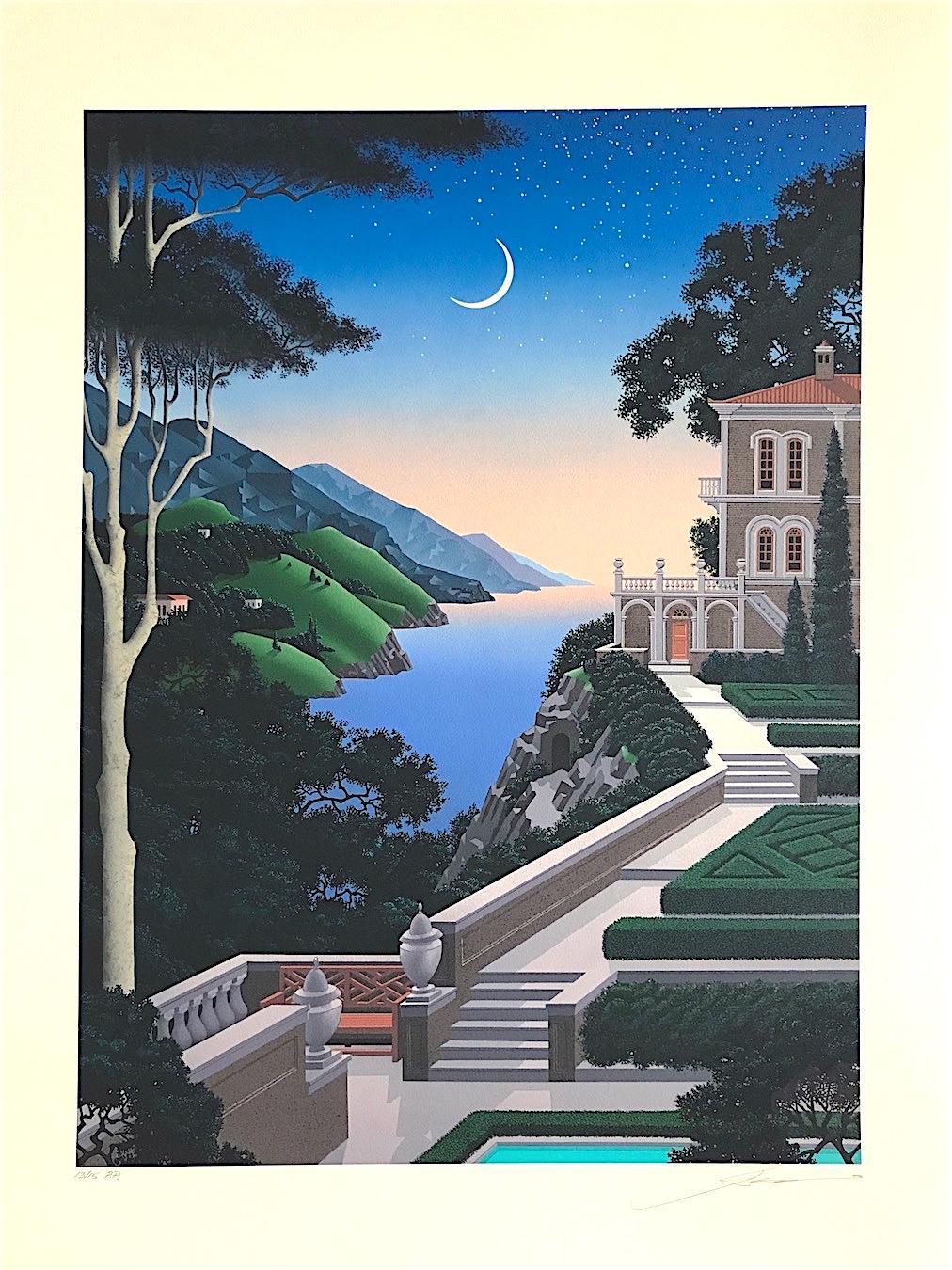 GIARDINO SEGRETTO Signed Lithograph, Moonlit Landscape, Mediterranean Villa