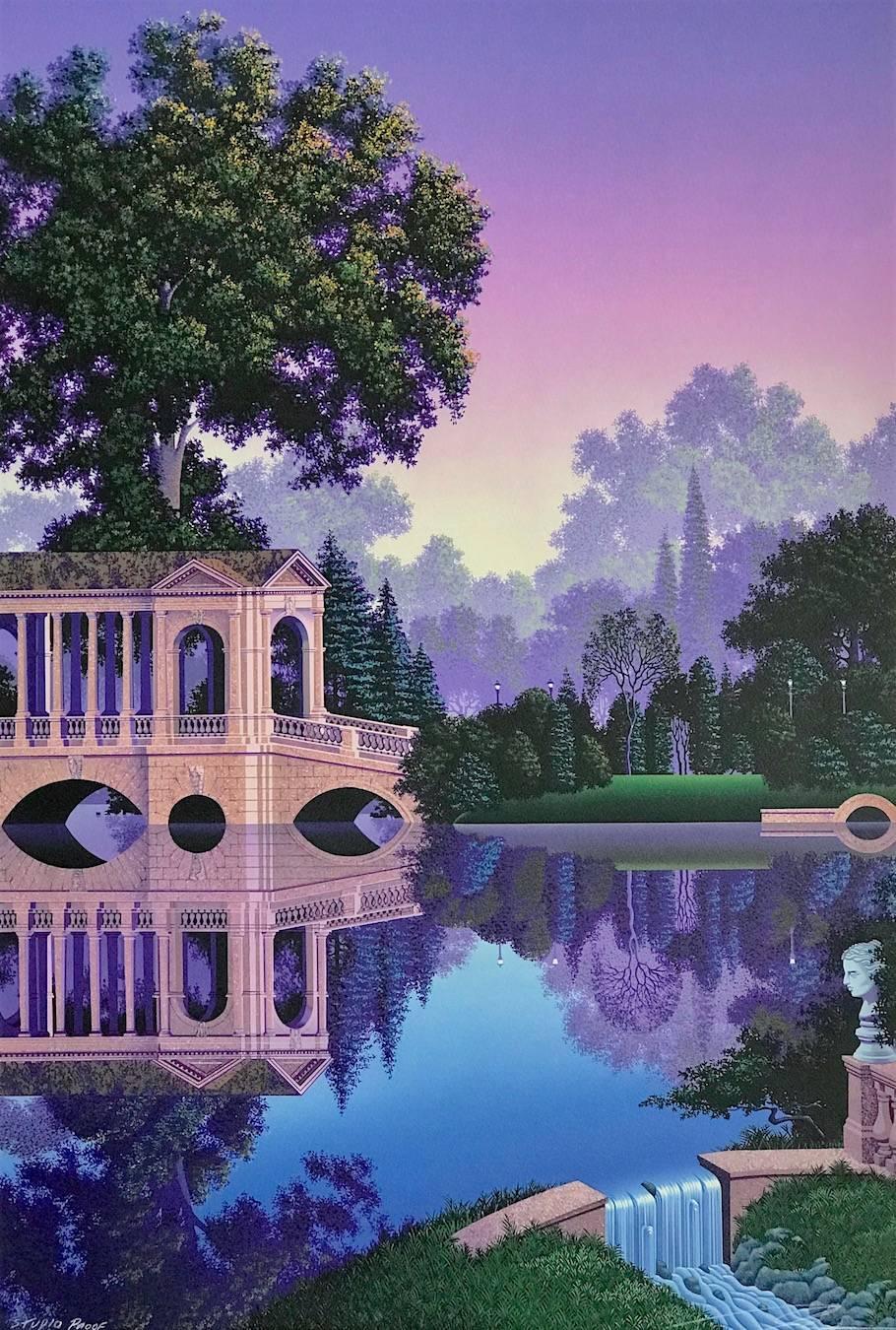 PHAEDRA'S VIGIL Signed Lithograph, Fantasy Landscape, Lavender Purple Blue Green