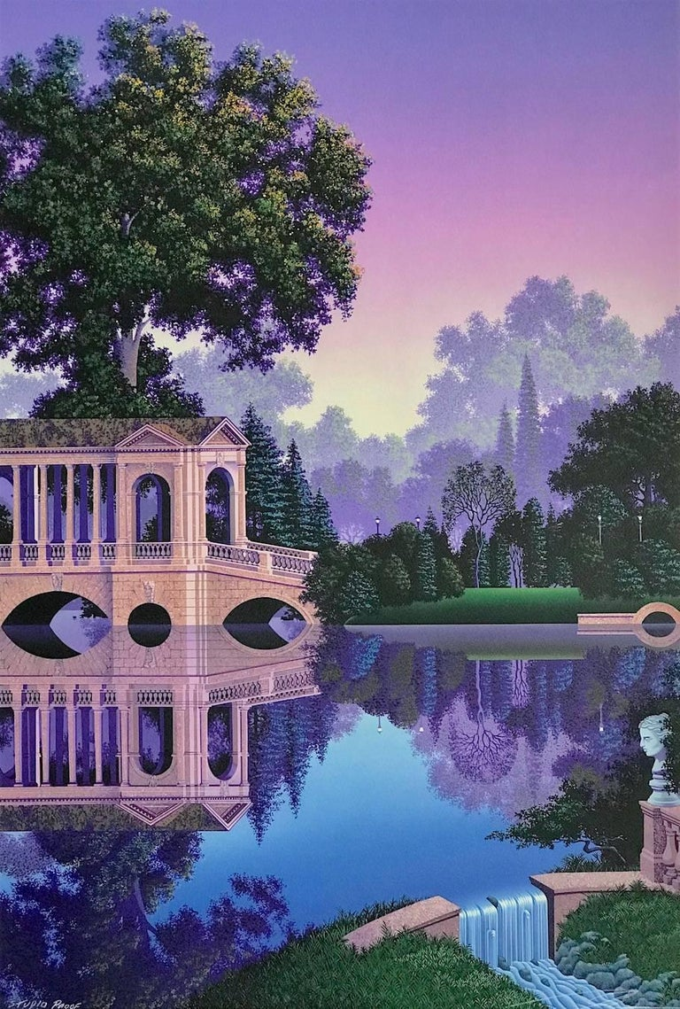 Phaedra's Vigil, Signed Lithograph on Arches, Ultra Violet Landscape