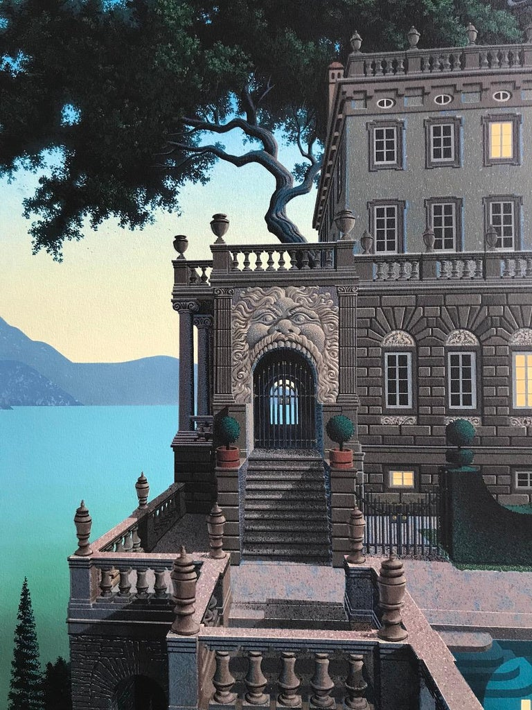 PRINCES KEPT THE VIEW Signed Lithograph, Medieval Fantasy Landscape, Moon Castle - Contemporary Print by Jim Buckels