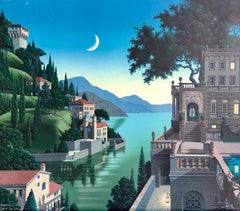 PRINCES KEPT THE VIEW Signed Lithograph, Medieval Fantasy Landscape, Moon Castle