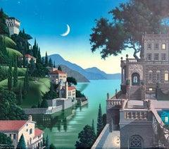 PRINCES KEPT THE VIEW Signed Lithograph, Medieval Fantasy Landscape, Moon Castle