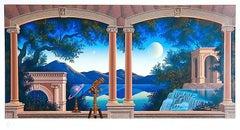 SATURNELLA Signed Serigraph, Architectural  Landscape, Telescope, Astronomy