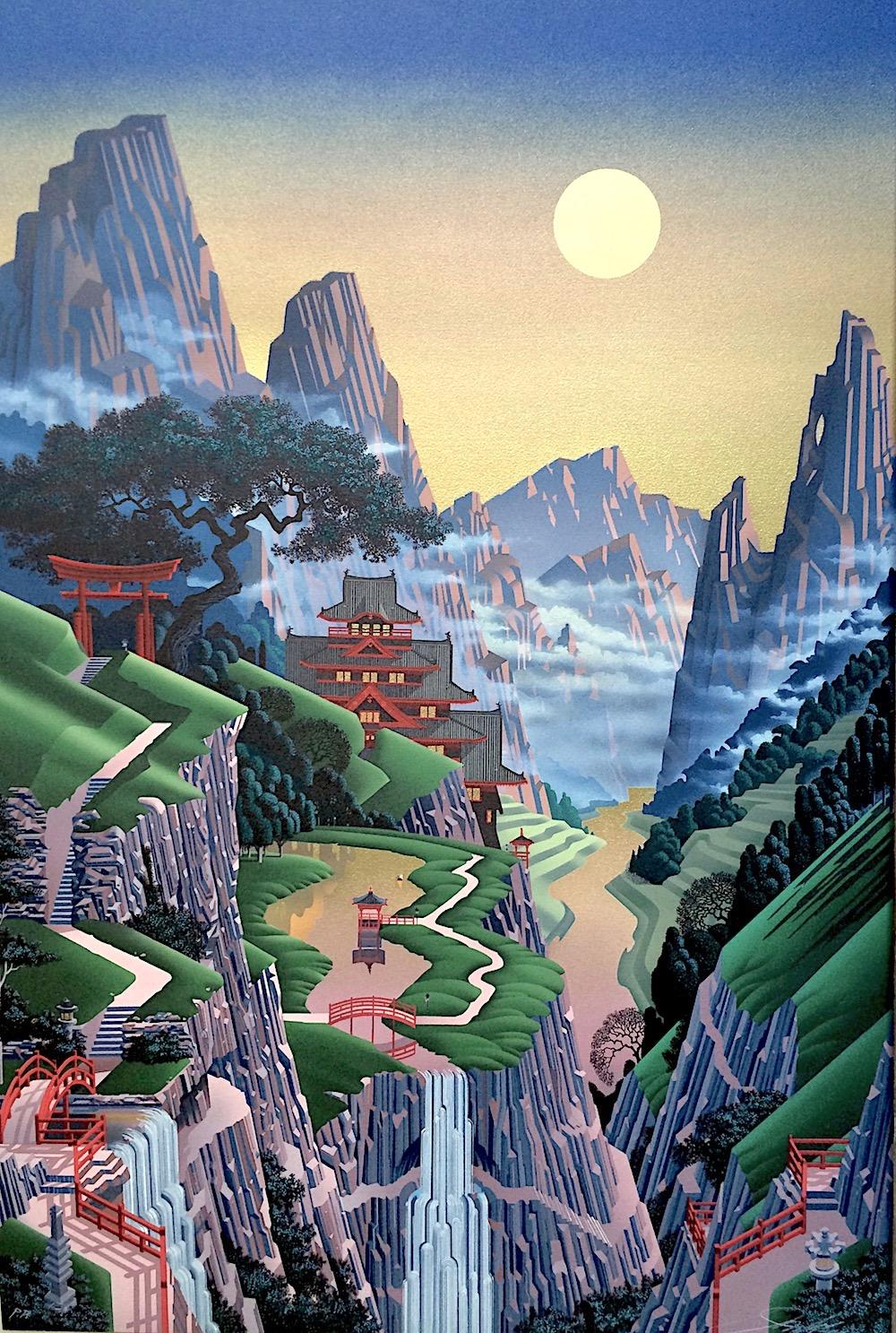 SEVENTH TORII Signed Lithograph Japanese Architecture, Mountains Water Gold Sky