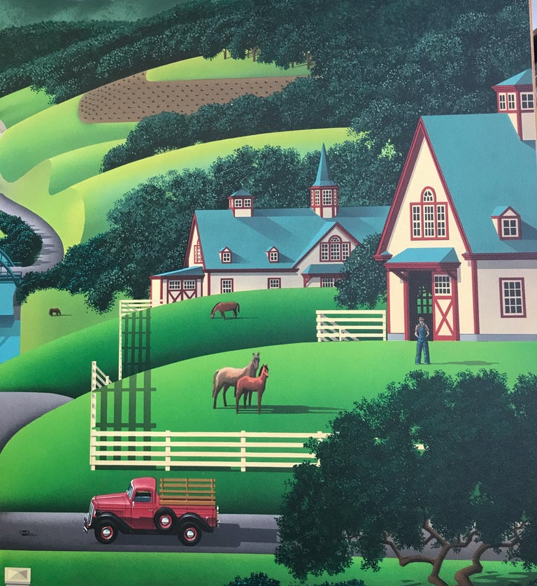 TROUBLE AT WALNUT RIDGE Signed Lithograph, Farm Country, Green Hills, Horses - Contemporary Print by Jim Buckels