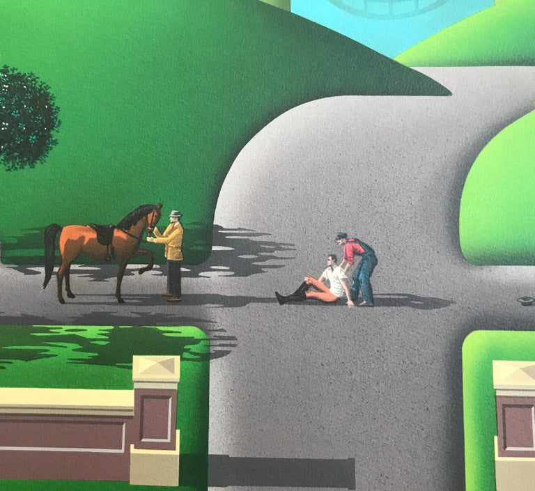 The limited edition lithograph TROUBLE AT WALNUT RIDGE is a stylized rural landscape; a visual story depicting an expanse of farm country with rolling green hills, a turquoise blue river, classical style buildings, horses, vintage red pickup truck