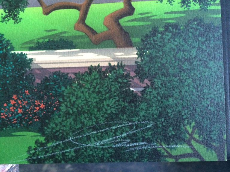 TROUBLE AT WALNUT RIDGE Signed Lithograph, Farm Country, Green Hills, Horses 1
