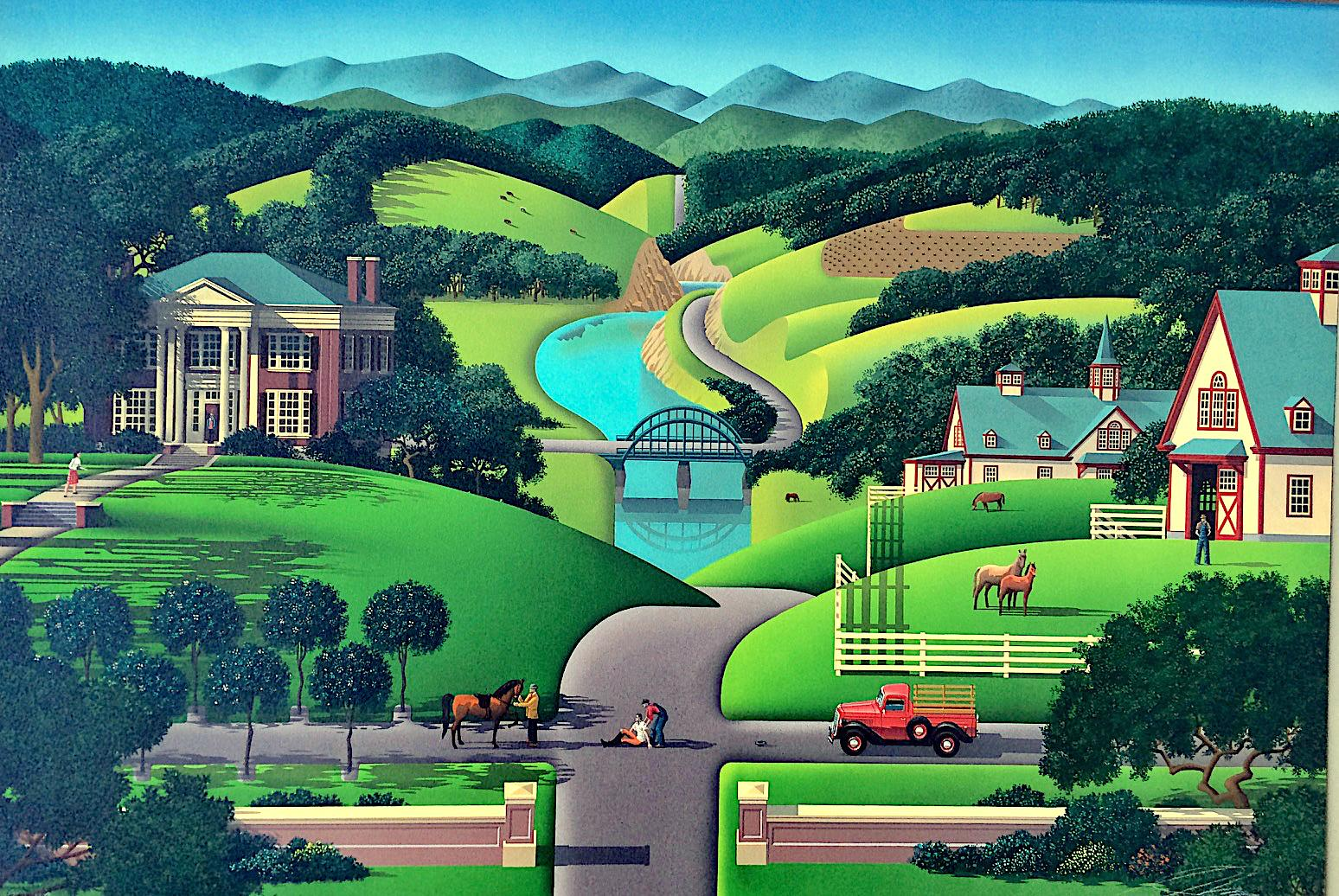 TROUBLE AT WALNUT RIDGE Signed Lithograph, Farm Country, Green Hills, Horses