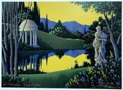 VESPERTINA Signed Serigraph, Fantasy Landscape, Architectural Gazebo w Cupola