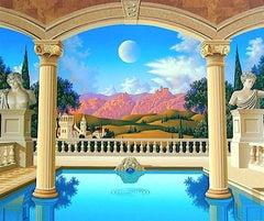 VILLA VISCONTI Signed Original Serigraph, Mediterranean Landscape Greek Columns
