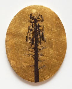 Cell Tower Tree, oil painting on oval panel, gold leaf and black