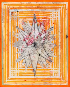 Star Structure, geometric abstract painting, bright neon orange