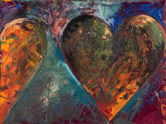 A smaller fortress - Jim Dine, hearts, contemporary, painting, american, pop art