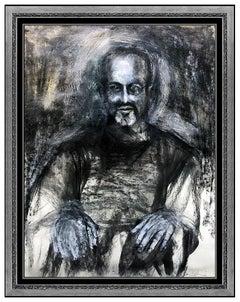 Jim Dine Original Watercolor Painting Signed Large Self Portrait Framed Artwork