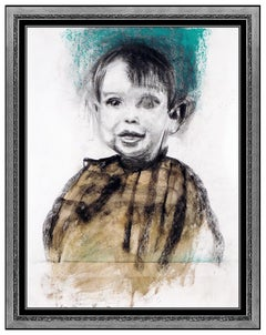 Jim Dine Watercolor Painting Original Signed Large Child Self Portrait Artwork