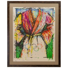 "Jim Dine pencil signed ""Olympic Robe"" lithograph for 1988 Olympic Games"