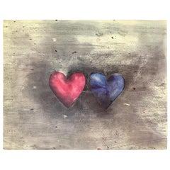 Jim Dine Print Two Hearts, 1976