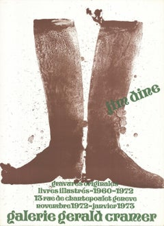 1972 After Jim Dine 'Brown Boots' Pop Art Brown,Green,White France Lithograph