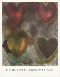 1980 Jim Dine 'Flo-Master Hearts' Pop Art Multicolor,Gray,Red,Pink,Yellow USA