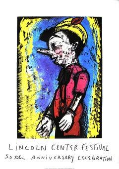 2008 Jim Dine 'Pinocchio' Pop Art Yellow,Multicolor USA Mixed Media