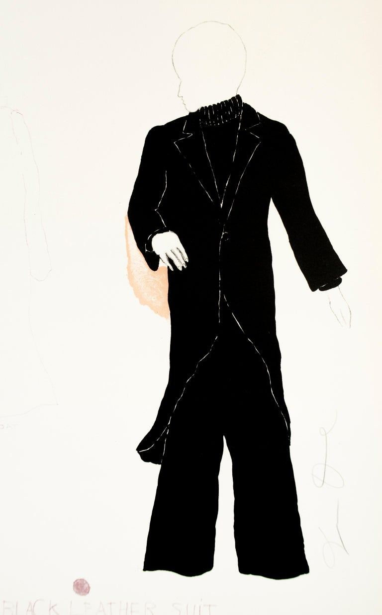 """Jim Dine Figurative Print - Basil in Black Leather Suit from """"The Picture of Dorian Gray"""""""