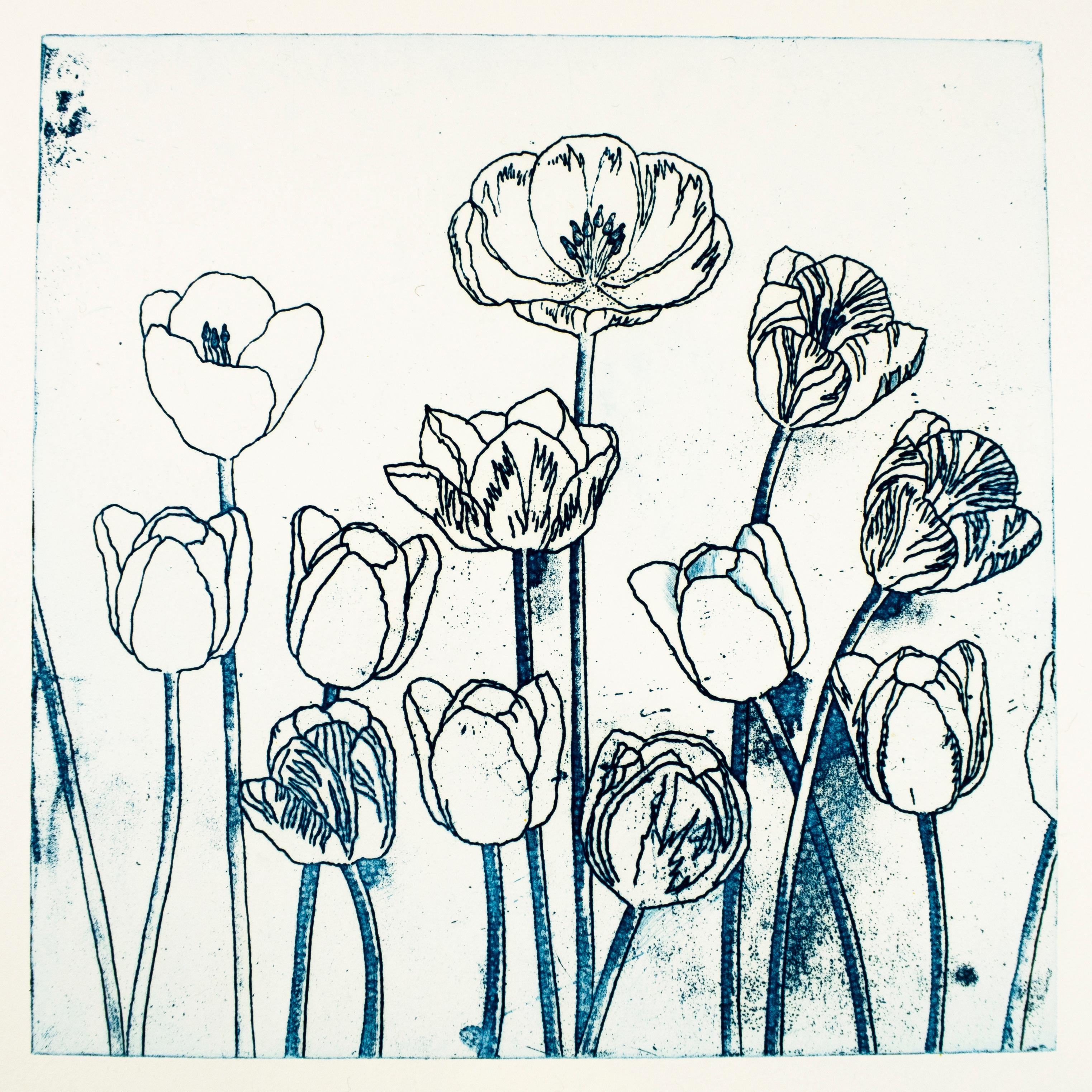 Blue Tulips by Jim Dine, blue flower etching