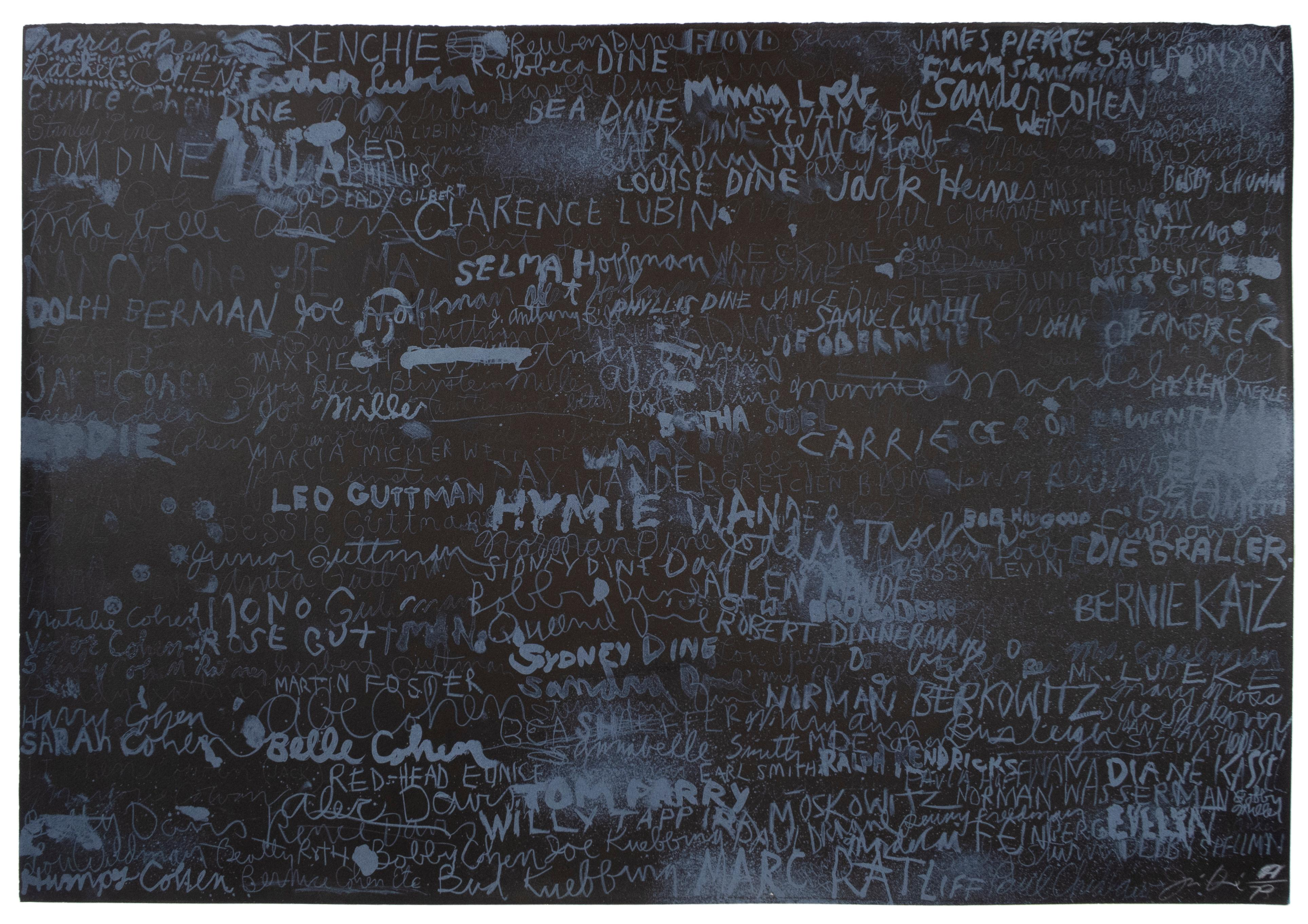 Cincinnati II: Large Scale Black and White abstract text drawing by Jim Dine