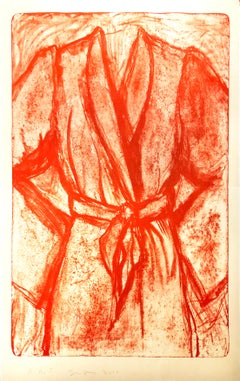 Cream and Red Robe on a Stone