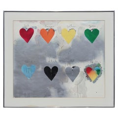 """""""Eight Hearts"""" Modern Abstract Lithograph"""