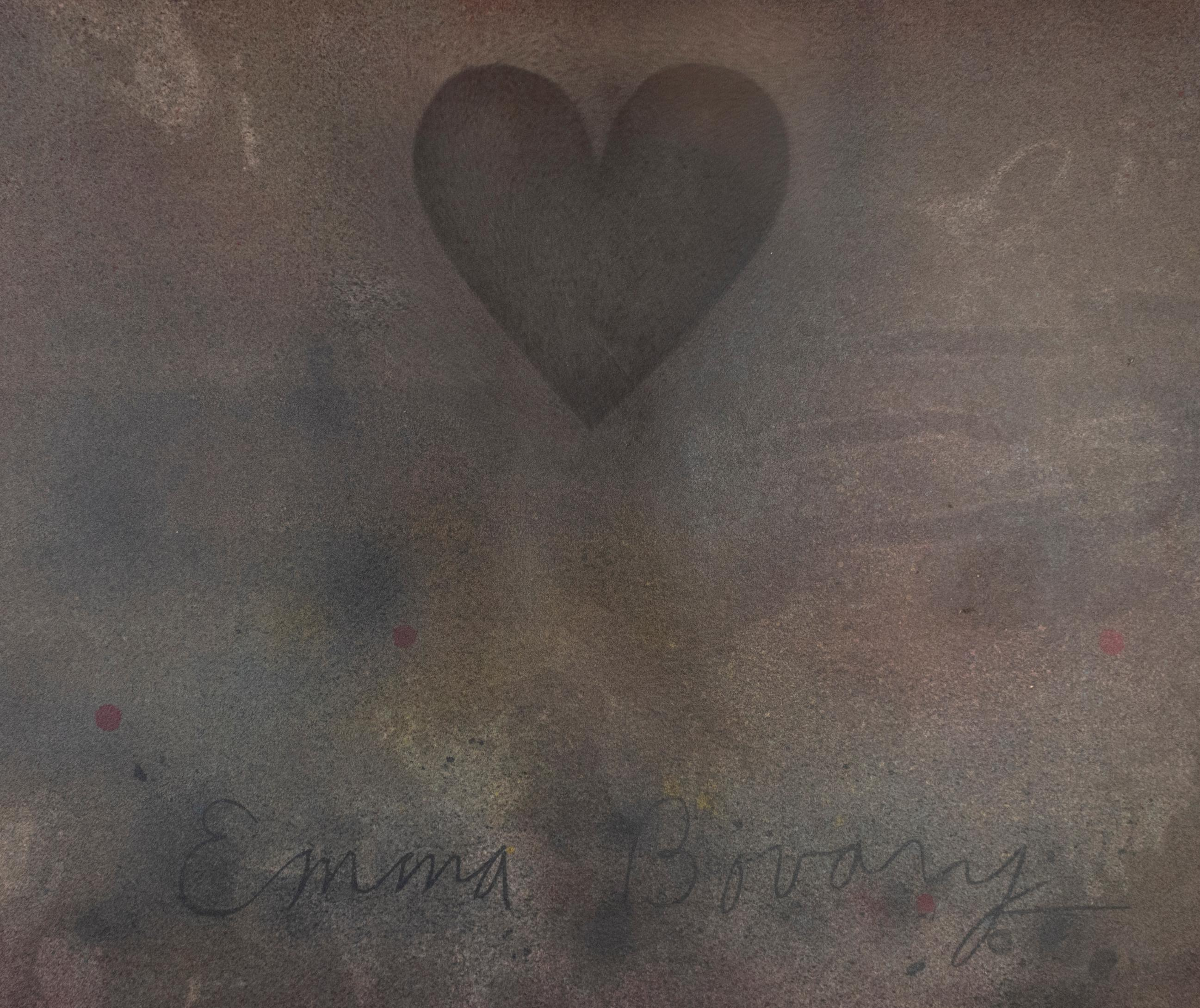 Jim Dine Emma Bovary Heart unique print w muted galaxy rainbow colors abstract