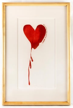 Jim Dine Red Design for Satin Heart FRAMED Oscar Wilde Dorian Grey heart pop art