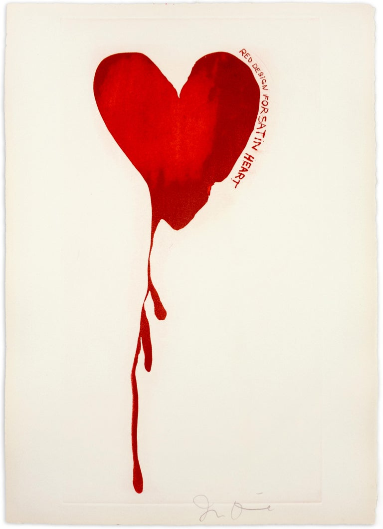 """This print depicts one of Jim Dine's signature images, a deep red heart dripping down the page, appearing as a bleeding heart. Along the right side of the heart, hand-drawn text reads: """"Red design for satin heart"""". Dine was working on the sets and"""