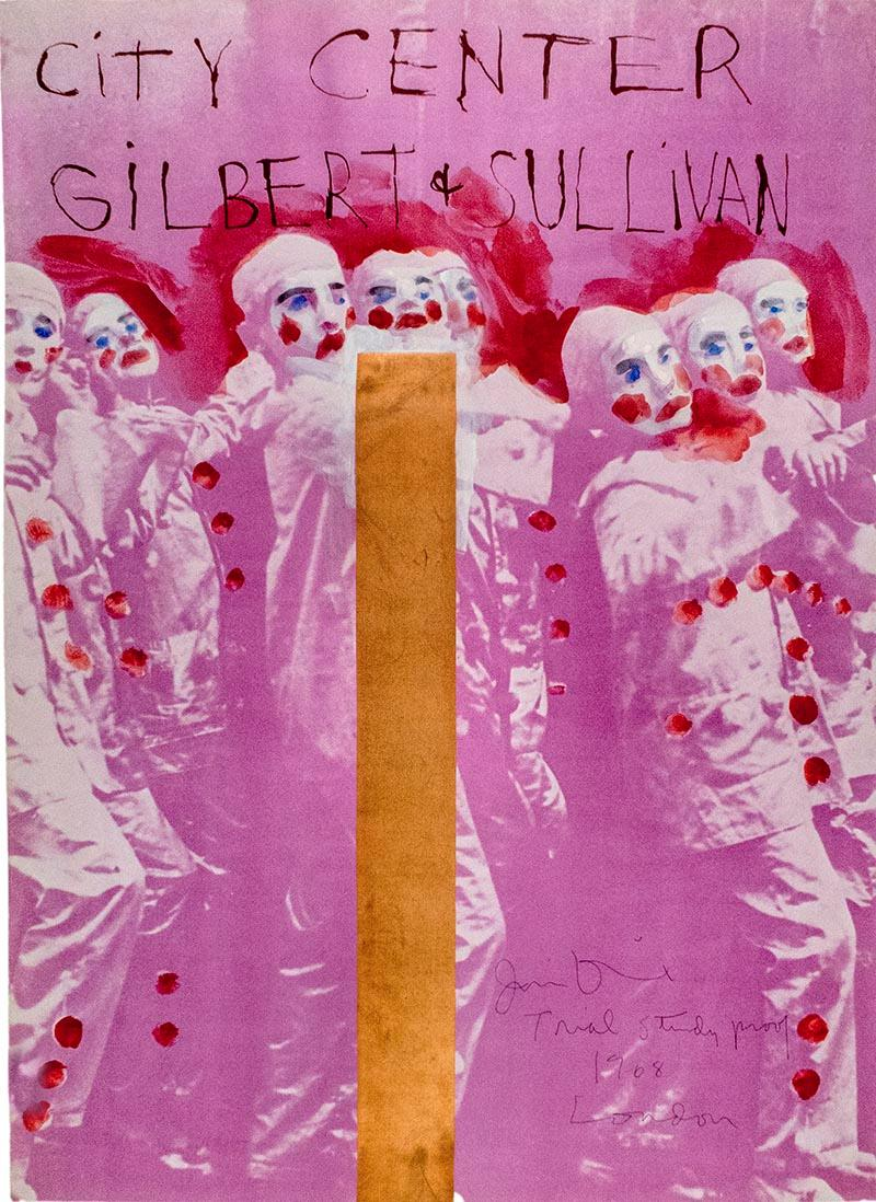 """Hand painted Jim Dine City Center, New York SIGNED """"Gilbert and Sullivan"""" poster"""