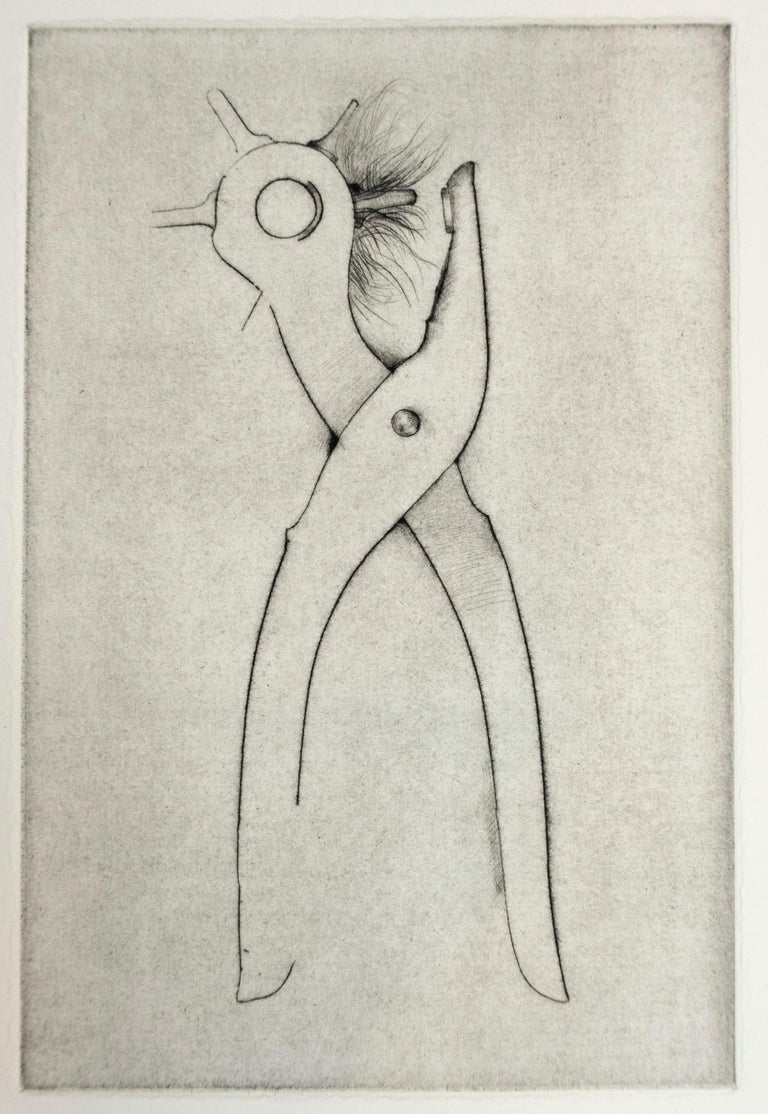 Hole Punch (Jim Dine 30 Bones of My Body portfolio) tool dry point   - Print by Jim Dine