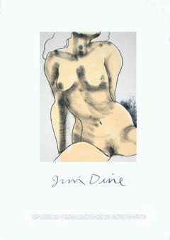 "Jim Dine-Galerie 33-39.5"" x 27.75""-Serigraph-Pop Art-Gray, Yellow"