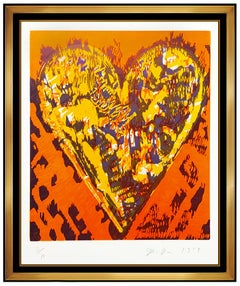 Jim Dine Original Color Woodcut Etching Heart Hand Signed Modern Framed Robe Art