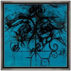 Jim Dine RARE Original Color Lithograph Blue Commelynck Gate Large Signed Art