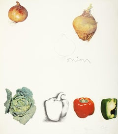 Jim Dine, Untitled (Vegetables), lithograph with collage, 1970
