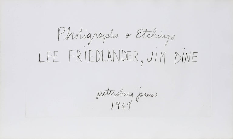 Artist: Jim Dine, American (1935 - ) and Lee Friedlander, American (1934 - ) Title: Photographs and Etchings Year: 1969 Medium: Portfolio of 16 Diptychs of Gelatin Silver Prints and Etchings, each signed in pencil by the artists Edition: 75, 15 AP,