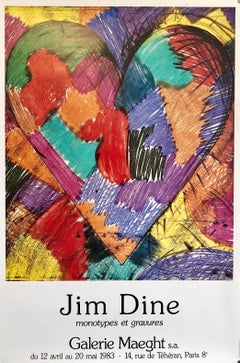 Rainbow Quilt Heart Pop Art Vintage Offset Lithograph Poster Jim Dine, Maeght