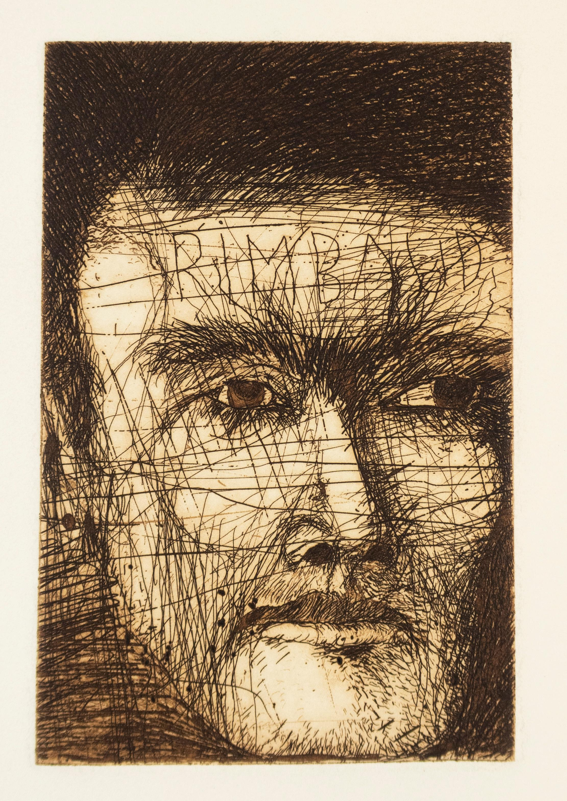 Jim Dine Rimbaud, the Coffee Exporter poet portrait drawing in earth tone sepia