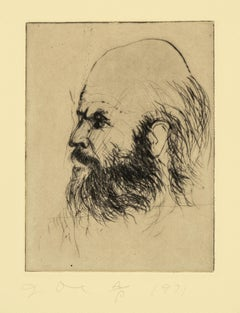 Jim Dine Self Portrait from 'Self Portraits' portfolio old masters style drawing