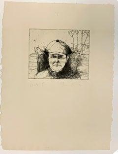 SELF-PORTRAIT IN A FLAT CAP (WINTER).