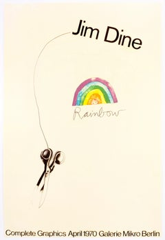 SIGNED vintage Jim Dine Complete Graphics Galerie Mikro 1970 rainbow poster