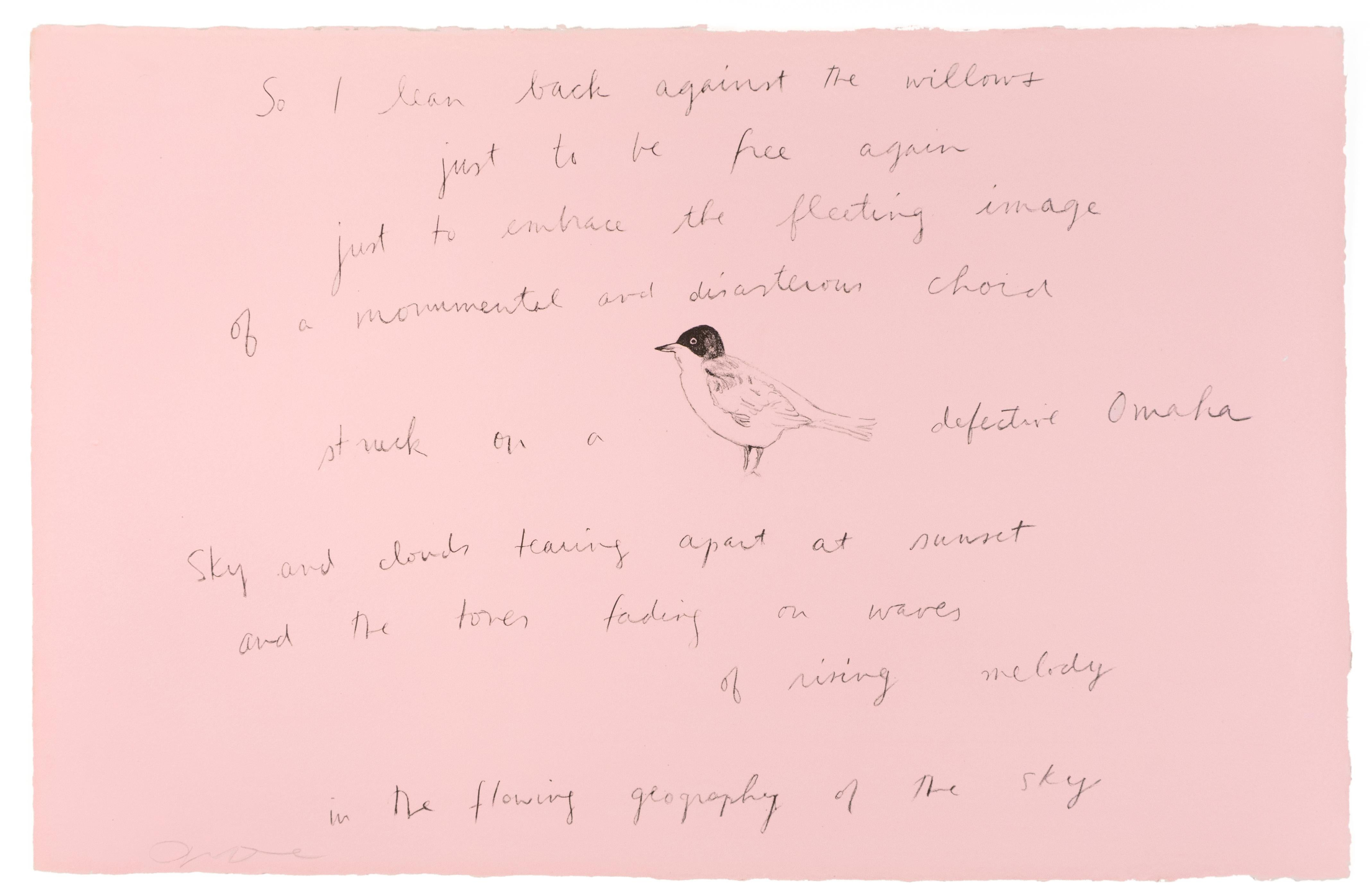 So I lean back (Oo La La) Jim Dine lithograph and Ron Padgett poetry pink bird