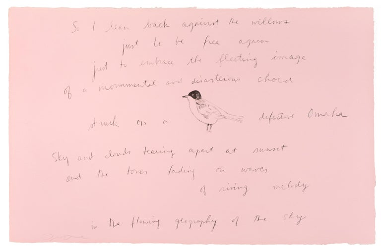 So I lean back (Oo La La) Jim Dine lithograph and Ron Padgett poetry pink bird - Print by Jim Dine